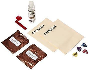 ChromaCast guitarra eléctrica accesorio esencial bundle: 2 paquetes de máxima mantener cuerdas para guitarra eléctrica, cuerdas), gamuza de cadena limpiador ...