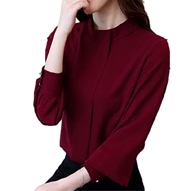 MEILIDONGREN Women Fashion Long Sleeve Shirts Casual Chiffon Blouse Work Wear Blusas Burgundy S
