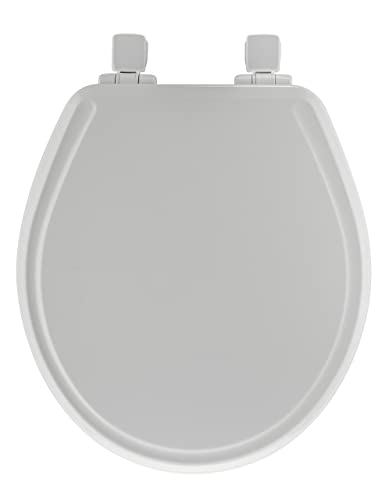 Mayfair 48SLOWA 000/848SLOWA 000 Slow-Close Molded Wood Toilet Seat featuring Whisper-Close, Easy Clean & Change Hinges and STA-TITE Seat Fastening System, Round, White