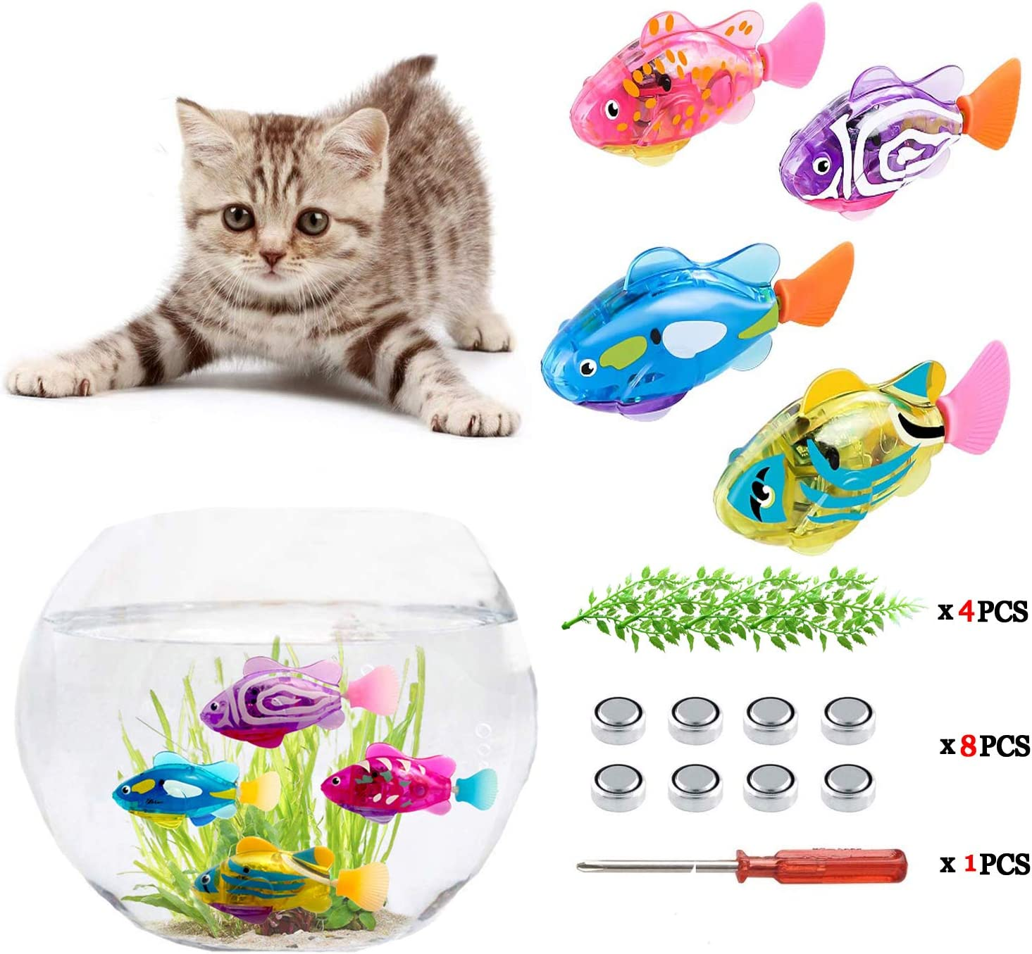 XYKTGH Swimming Robot Fish Toy for Kids with LED Light, Mini Aquarium Fish, 2020 New Bath Toys, Interactive Plastic Fish Toys (4 pcs), Electronic Cat Toy Gift to Stimulate Your Pet's Hunter Instincts