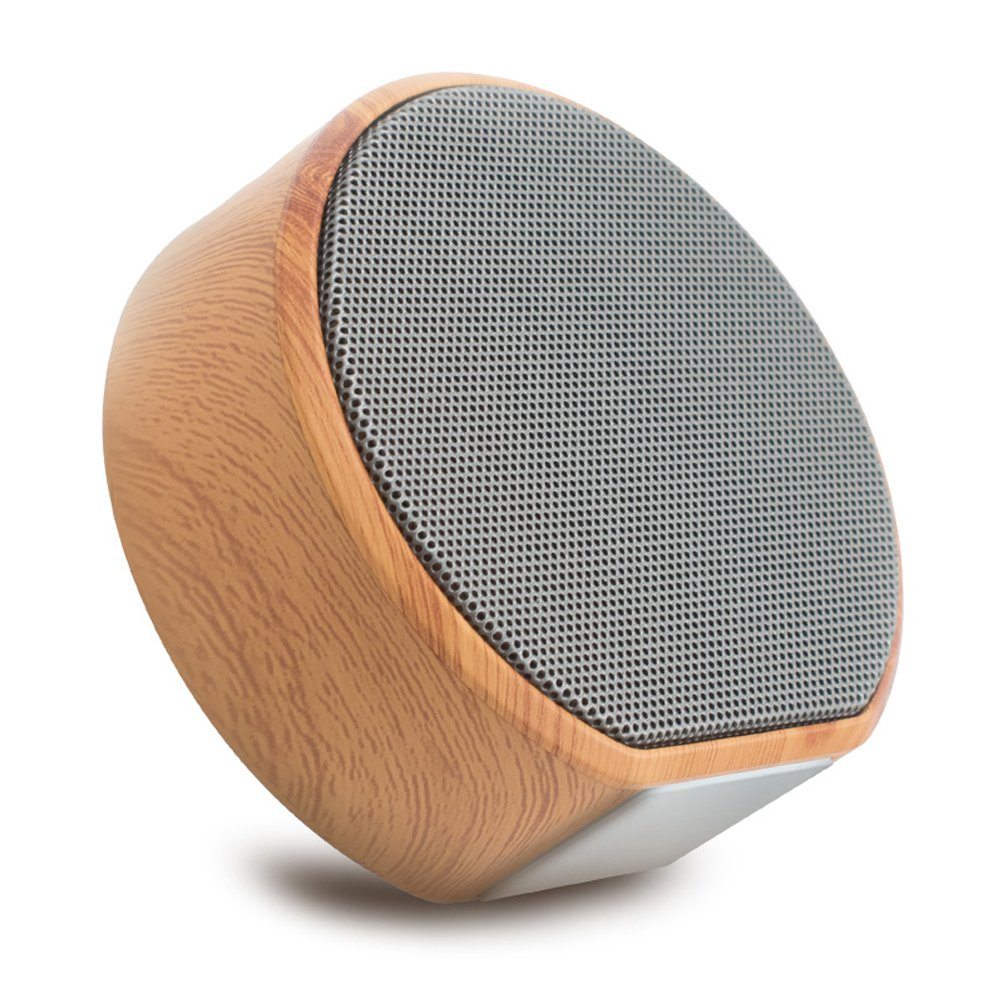 Benefast Bluetooth 4.1 Portable Wireless Speakers With FM Radio Mic HD Sound, 8H Playtime, Mini Wooden Design IPX4 Speaker Support TF Card, AUX Line, Handsfree Call, Super Bass