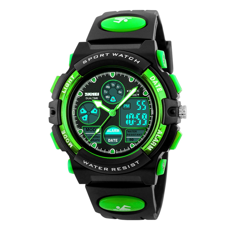 Boys Watch Digital Outdoor Sports 50M Waterproof Watches Boys Girls Children's Analog Quartz Wristwatch with Alarm - Green