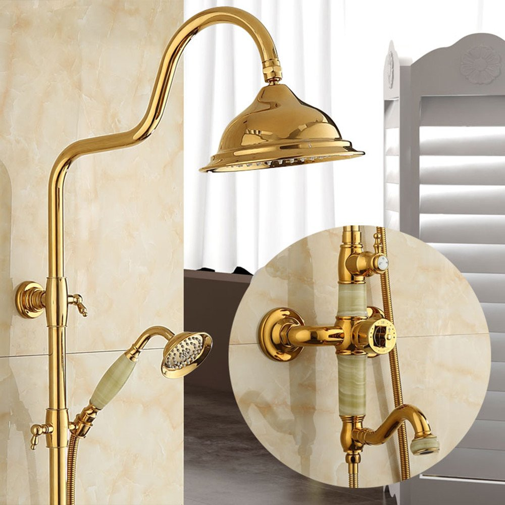 B2 European golden Natural Jade Shower Set Shower hot and Cold Bathroom Copper Faucet, A1