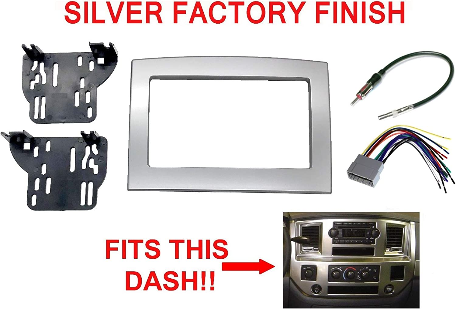 Amazon.com: Silver Double Din Dash Install Kit w/Wiring Harness Radio  Stereo Compatible with Dodge Ram: Car ElectronicsAmazon.com