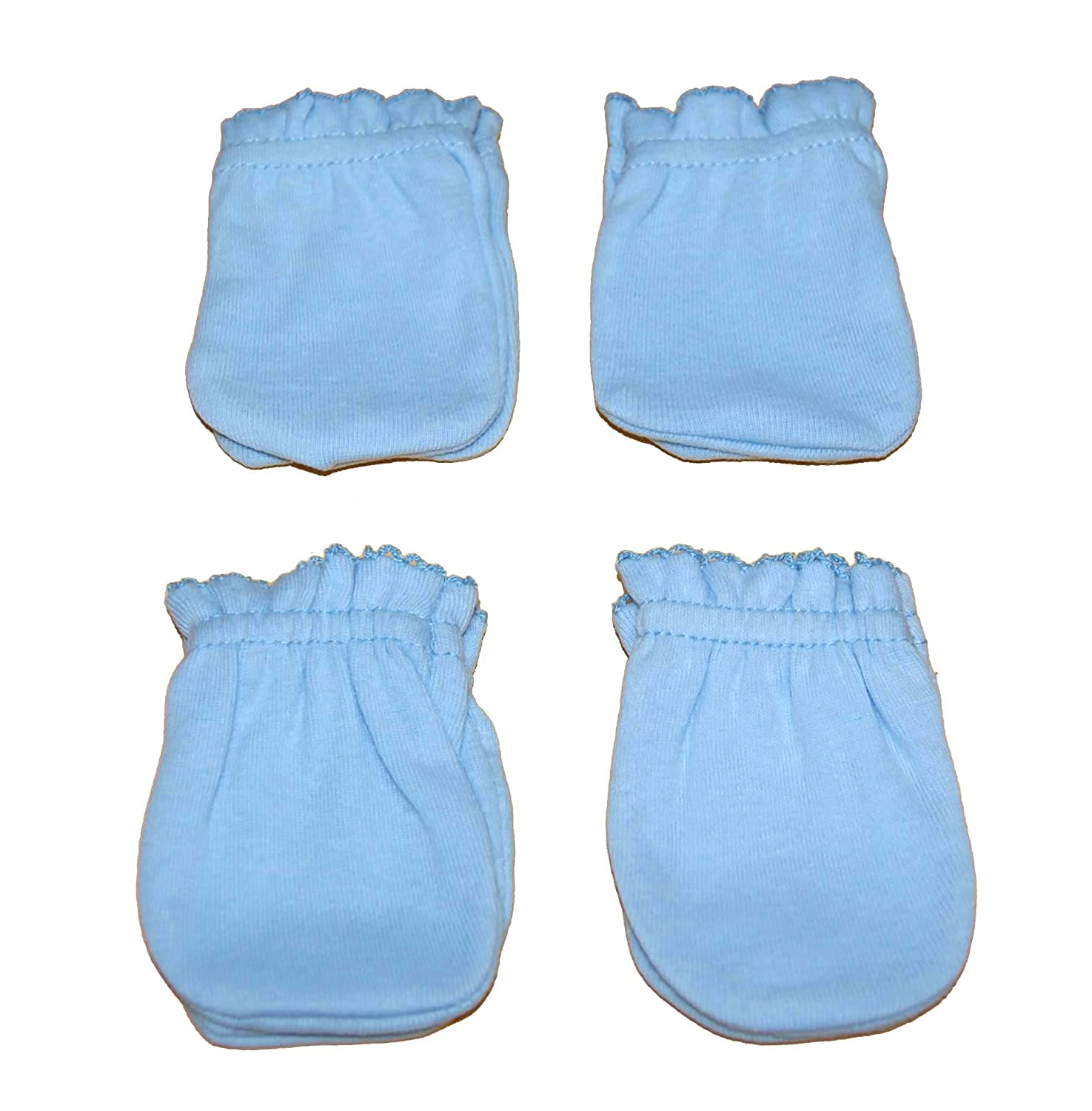 4 Pairs Cotton Newborn Baby/infant Boy No Scratch Mittens Gloves - Light Blue Tamsmart