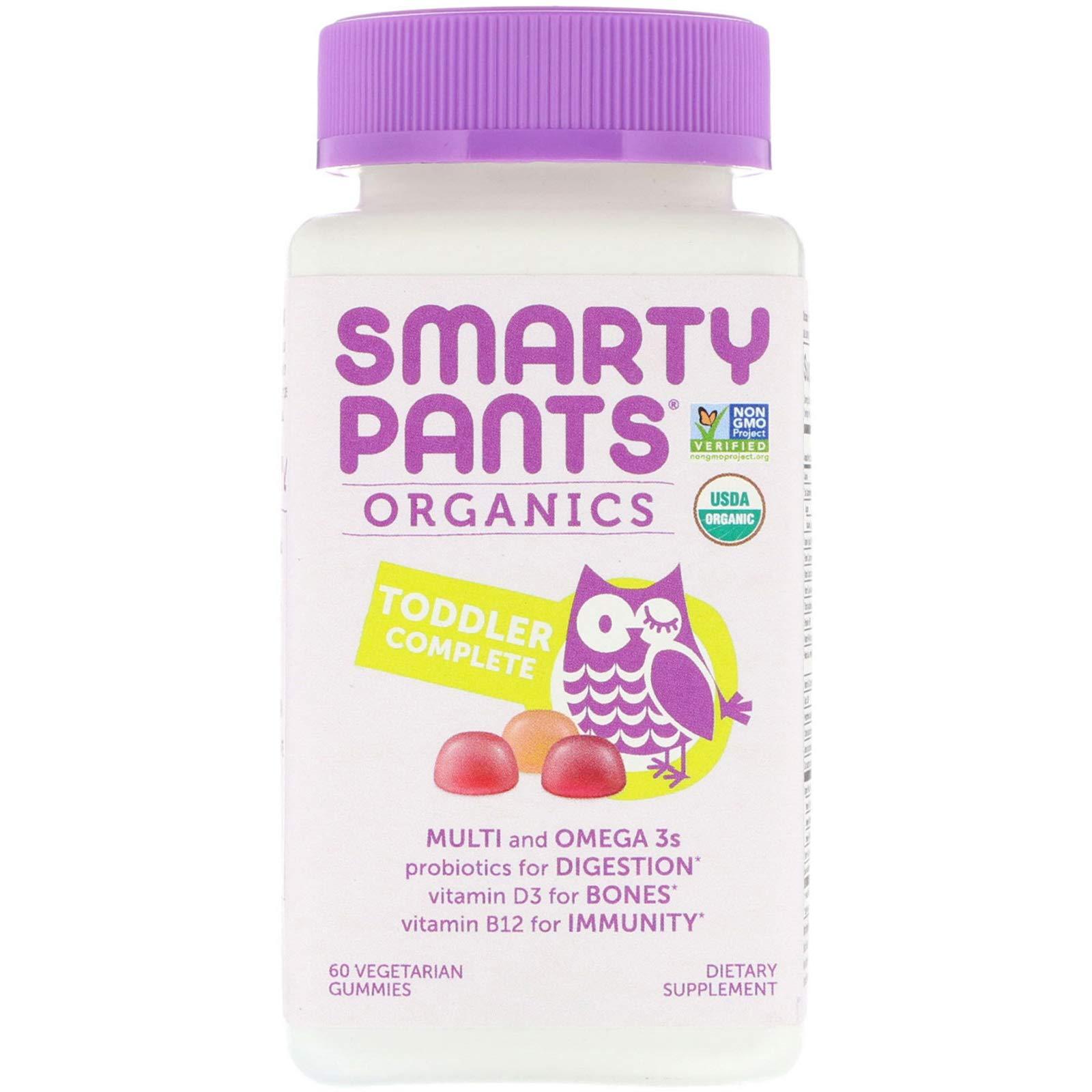 SmartyPants Vegetarian Organic Toddler Daily Gummy Vitamins: Multivitamins, Gluten Free, Non-GMO, Omega-3, Probiotic,* Vitamin D3, Methylcobalamin Vitamin B12, Zinc, 60 Count (30 Day Supply)