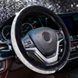 Alusbell Crystal Diamond Steering Wheel Cover Soft Velvet Feel Bling Steering Wheel Cover for Women Universal 15 inch…