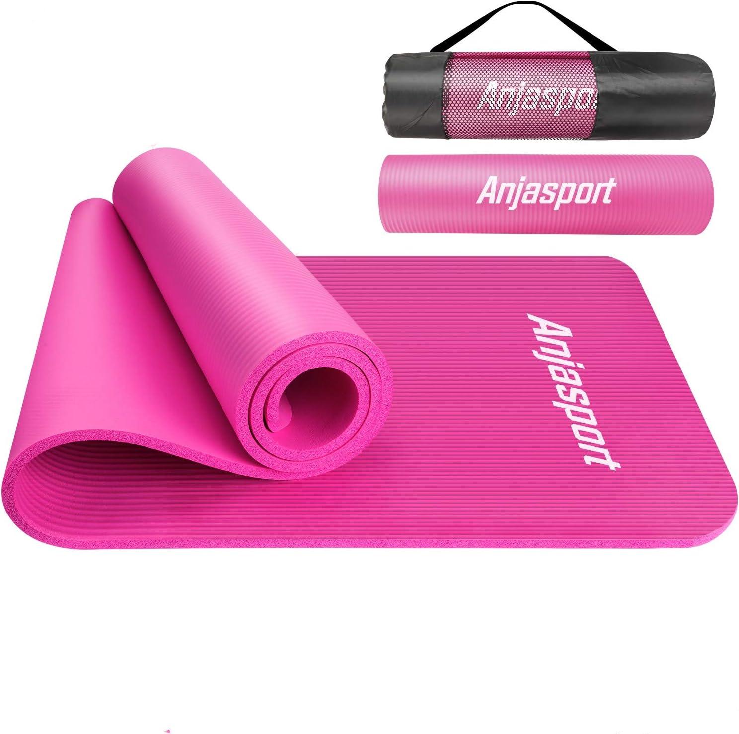 2020年 ヨガマットトレーニングマット エクササイズマット ヨガ ピラティス マット 厚さ 10mm 軽量 耐久性 肌に優しい 高密度 ニトリルゴム 滑り止め マットバッグ ストラップ 男女兼用 収納ケース付 yoga mat