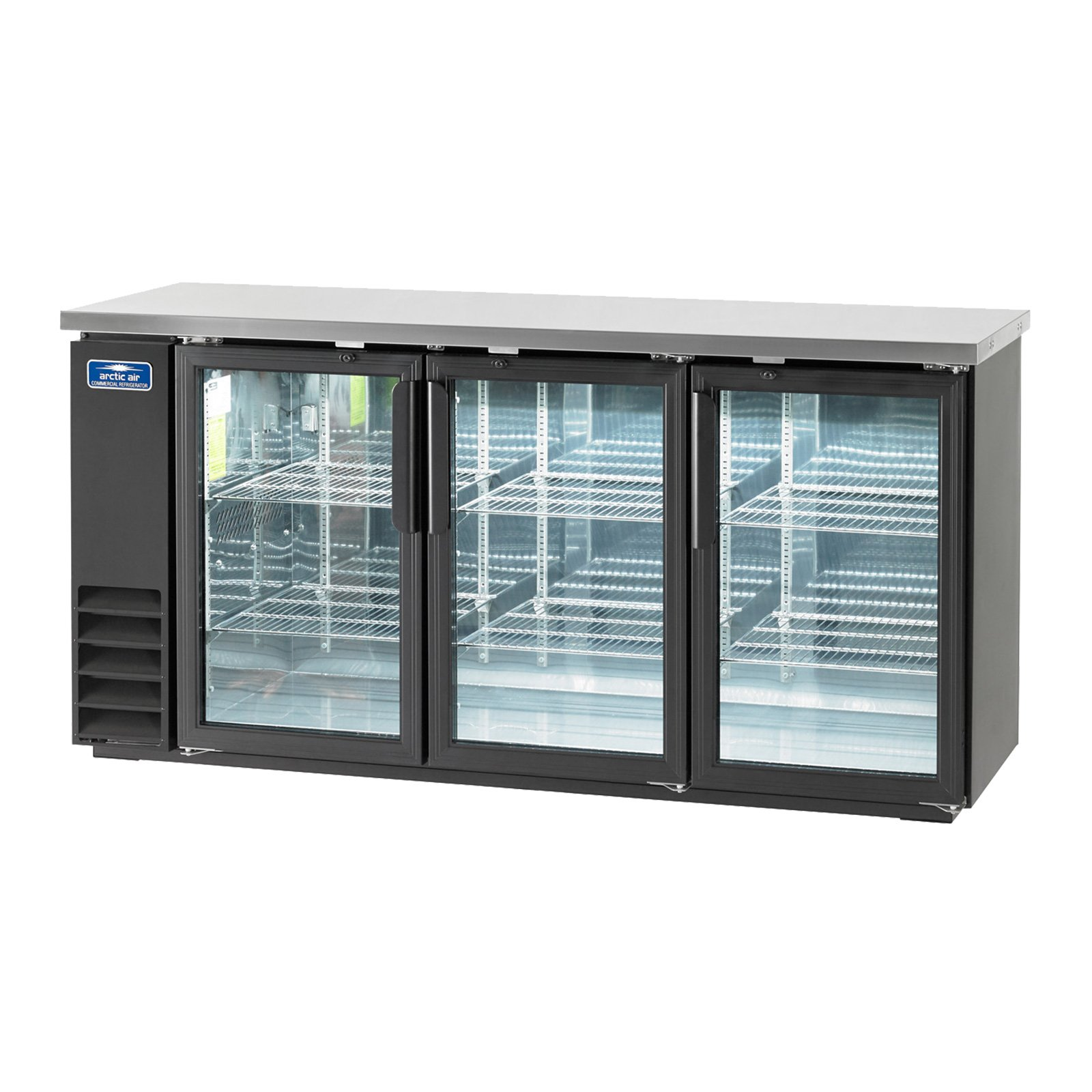 Arctic Air ABB72G, Back Bar Refrigerator, Glass Doors, three-section, Interior LED Lighting, NSF Certified