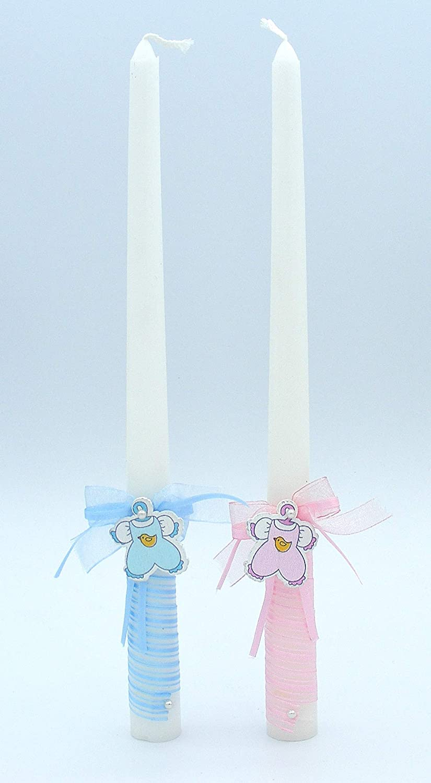 medidas 30x2 cm Vela de bautizo.Decoradas con cinta en espiral y un lacito con perla y ropita de beb/é rosa
