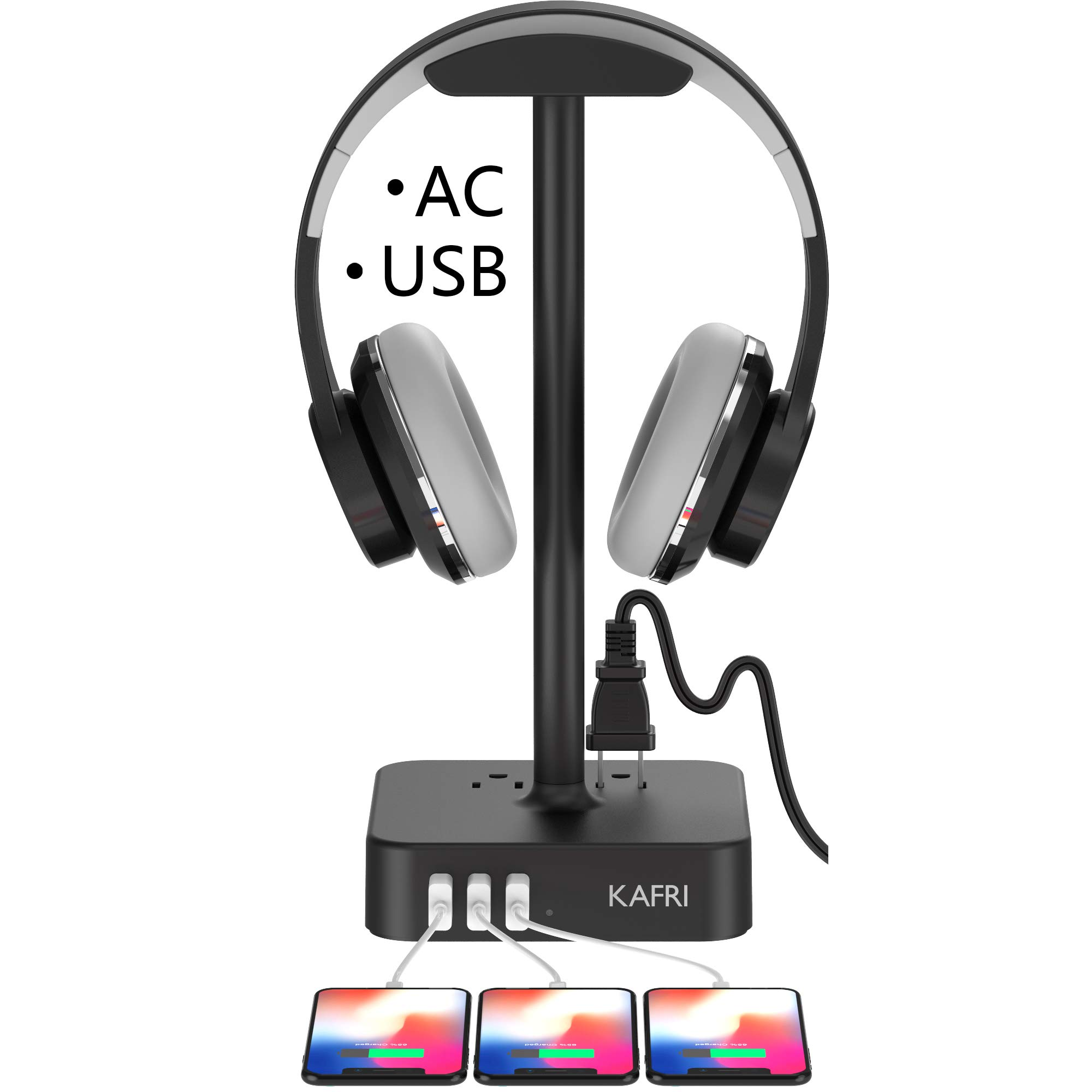KAFRI Headphone Stand with USB Charger Desk Gaming Headset Holder Hanger Rack with 3 USB Charging Port and 2 AC Outlet - Suitable for Gamer Desktop Table Wireless Earphone Accessories Boyfriend Gift