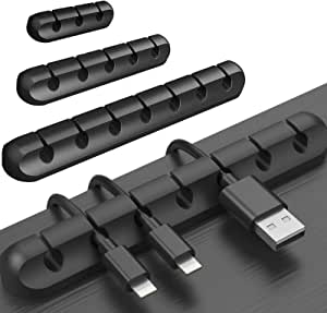 Cable Management, TERSELY 3 Pack Cable Clips Cord Management Cable Organiser, Silicone Adhesive Wire Holder for Power Cords, Charging Cables in Office and Home (7 Slots 5 Slots 3 Slots,Black)