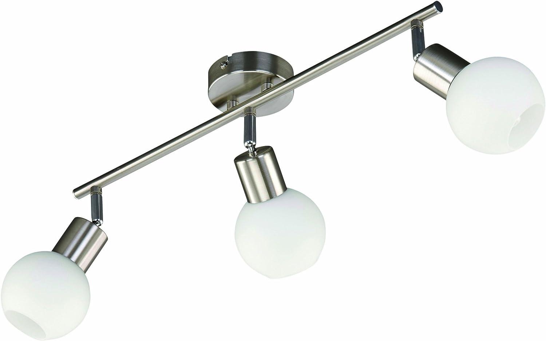 Briloner Leuchten 2726-032K Plafonnier Economy ESL 3 ampoules sph/ériques E14 Nickel mat
