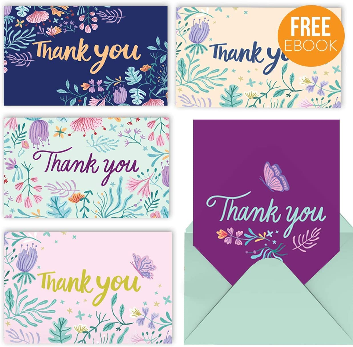 MPFY- Thank You Cards with Envelopes, Pack of 50, Thank You Notes, Thank You Card, Bulk Thank You Cards, Blank, Floral, Flower, Wedding, Baby Shower, Birthday, Bridal, Professional, Cute, Simple