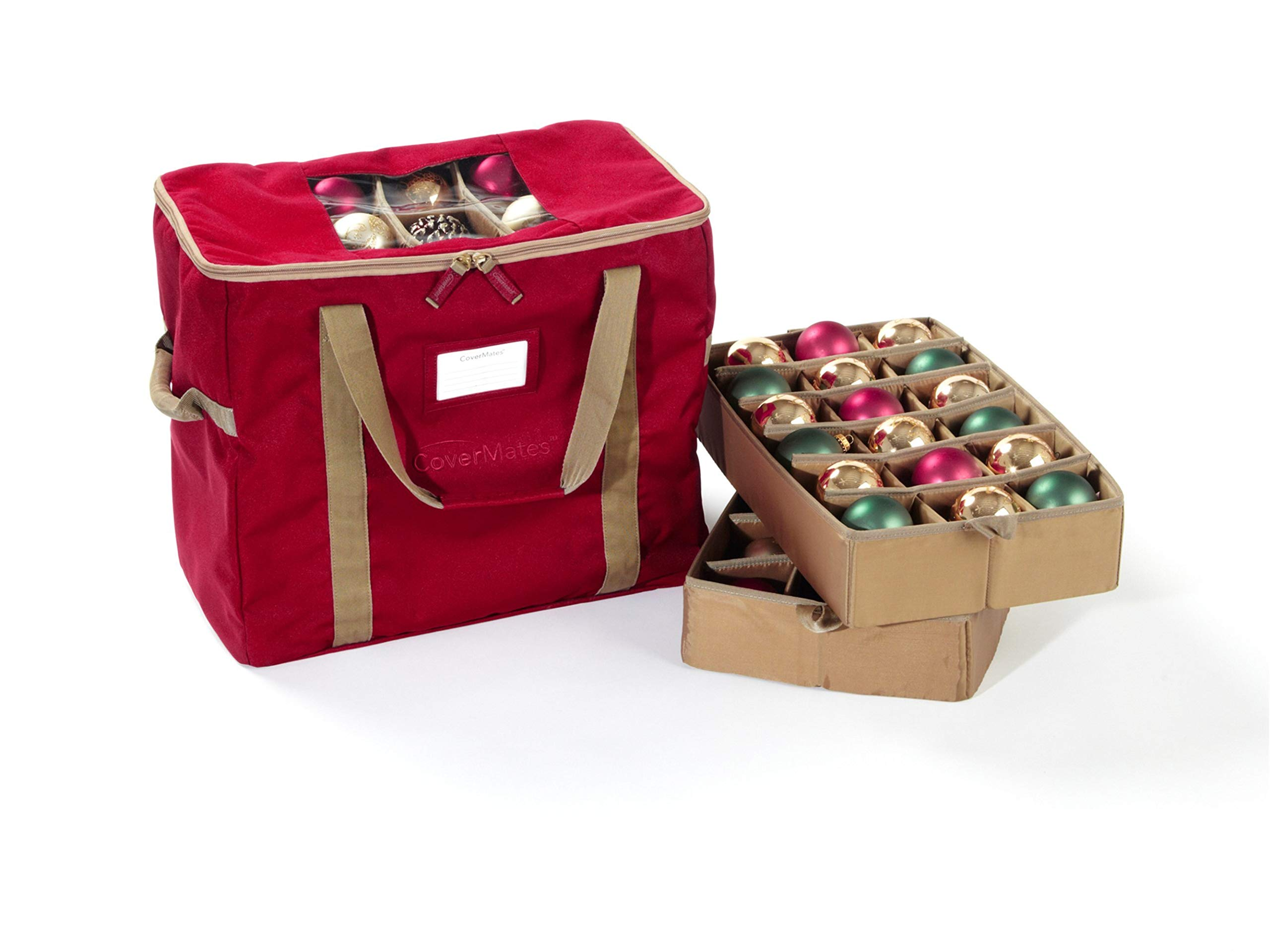 CoverMates – 72PC Holiday Ornament Storage Bag – 3 Year Warranty- Red