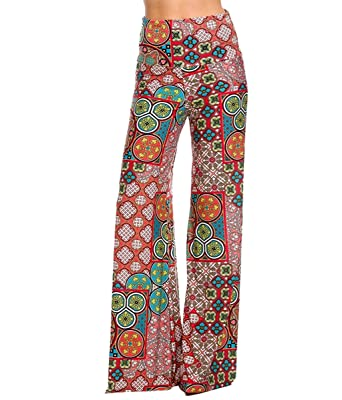 efb4999acc7 Image Unavailable. Image not available for. Color  Womens Fold Over Waist  Wide Leg Palazzo ...