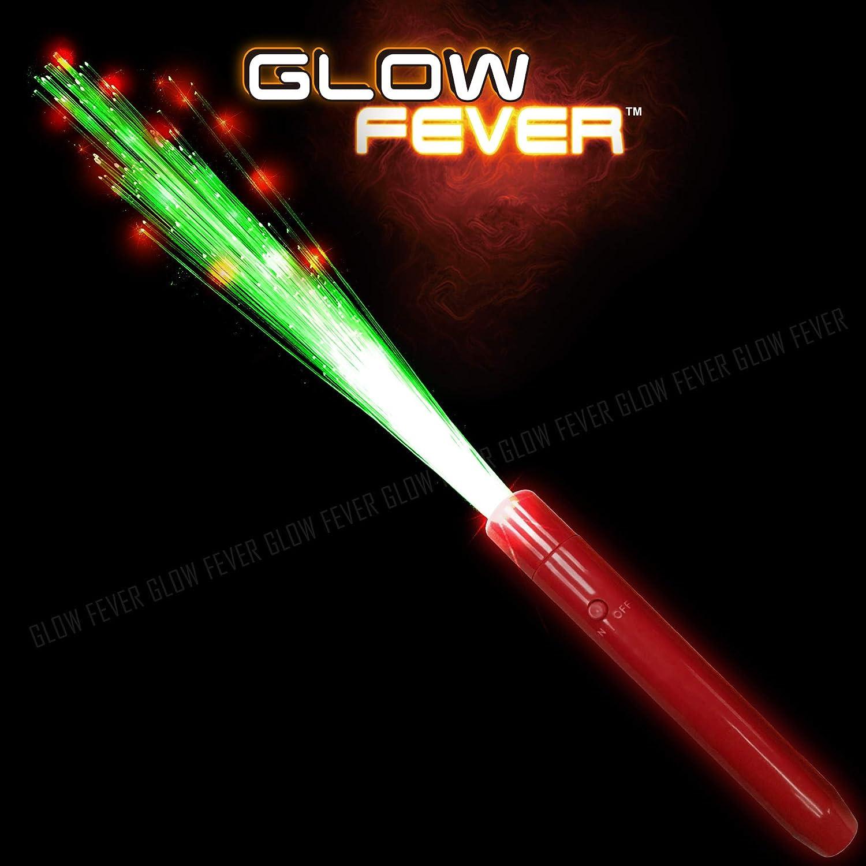Glow Fever Light Up Fiber Optic Stick Glow Wand LED Magic Wand, Birthday Wedding Favors Glow Party Supplies Christmas Halloween Decor, 12pcs(Green-Red)