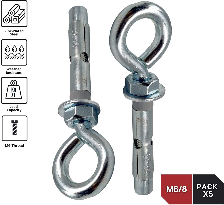 DOJA Industrial | Tacos Anclaje Metalico de Expansion con Cancamo | M6-8 | PACK 5 | Tacos hormigon, pared, chapas metalicas | Espiches de pared, ...