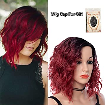 Short Curly Hair Wigs Black To Red Ombre Color Wet And Wavy High Temperature Fiber Synthetic Wigs For Black Women Water Wave Fluffy Hair Halloween