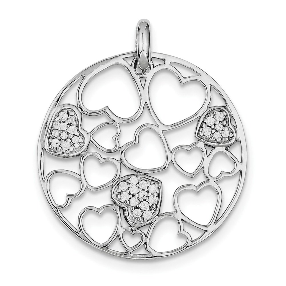 Lex /& Lu Sterling Silver Cut Out and CZ Hearts Circle Pendant-Prime