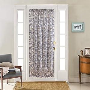French Door Curtain Linen Print French Door Panel Damask Medallion Design Vintage Drapes for Glass Door Patio Front Door 72 inch Long One Panel Blue on Beige Flax with Adjustable Tieback