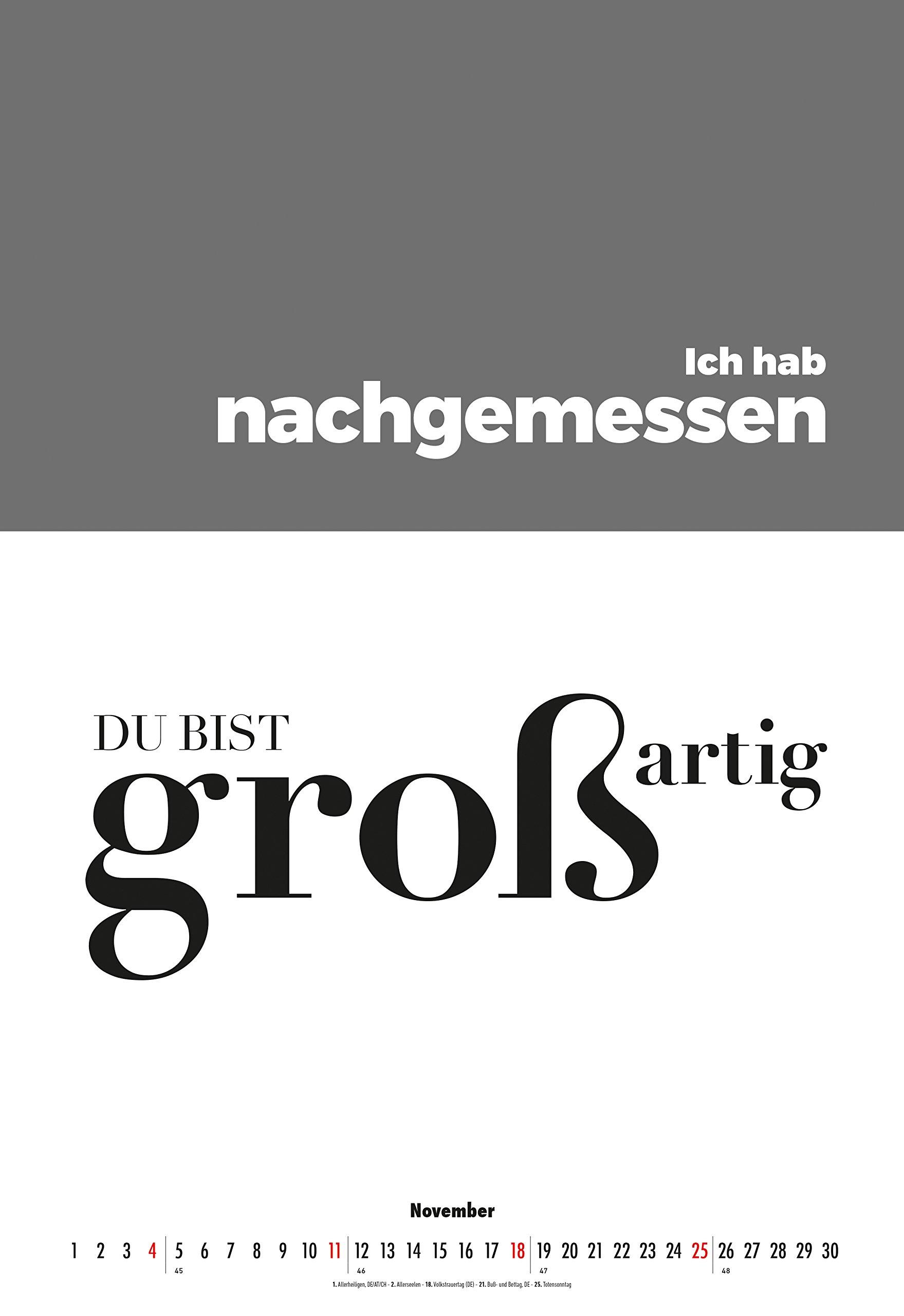 Typografiekalender 2018 34 X 50 Spruchekalender Amazon De