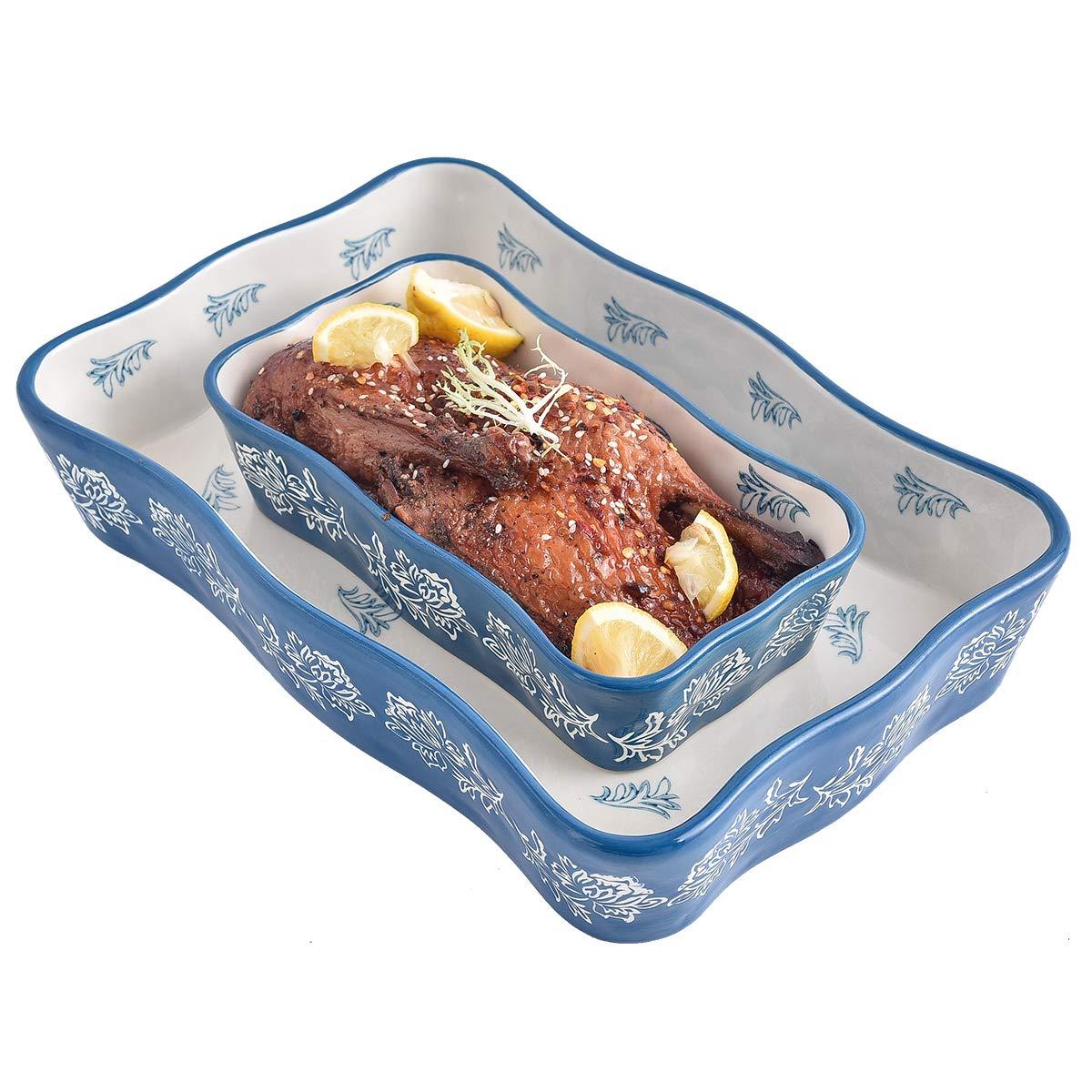 Bakeware Set, Wisenvoy 2 PCS Heat-resistant Ceramic Baking Dish Set, Rectangular Hand Painted Flower Design Baking Dish Set Cooking Pans, Blue
