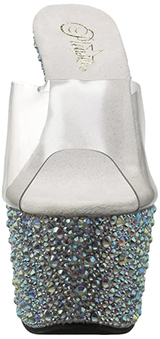 Pleaser Flamingo-801SRS Rhinestone Slide(Women's) -Clear PVC/Silver Rhinestones Low Shipping Fee Cheap Online In China Sale Online Discount Footlocker For Sale Footlocker For Cheap For Sale i2Bqr5beg1