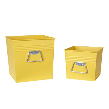 Household Essentials Decorative Metal Storage Bin Set of 2 Medium and Small Yellow  sc 1 st  Amazon.com & Amazon.com: Household Essentials Decorative Metal Storage Bin Set of ...