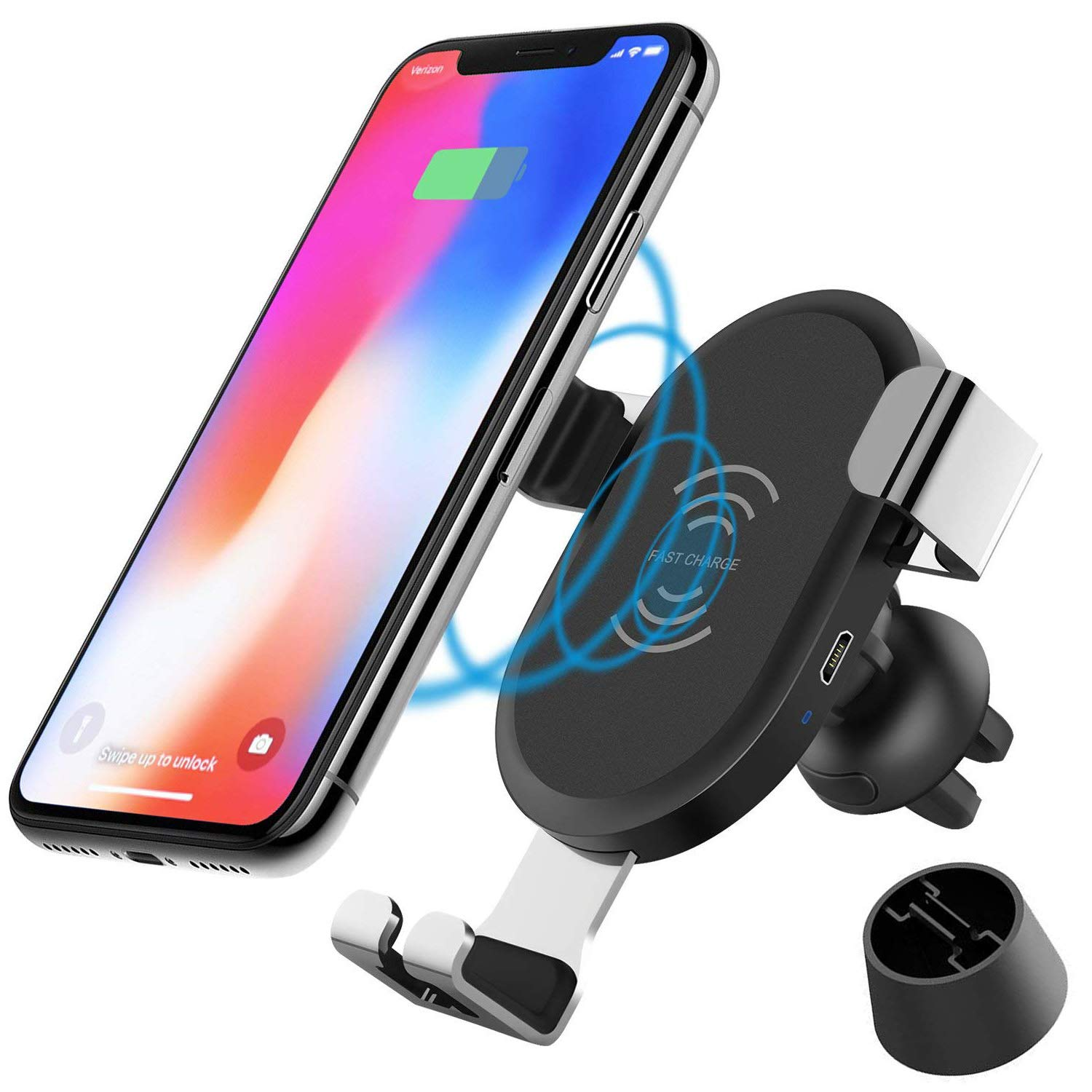 JCHIEN Wireless Car Charger Mount, Qi Wireless Charging Car Mount Air Vent Holder, 10W Fast Charge Samsung Galaxy S7 S8 S9, S9 Plus, Note 8 5, 7.5W Standard Charging Compatible iPhone X, 8/8 Plus