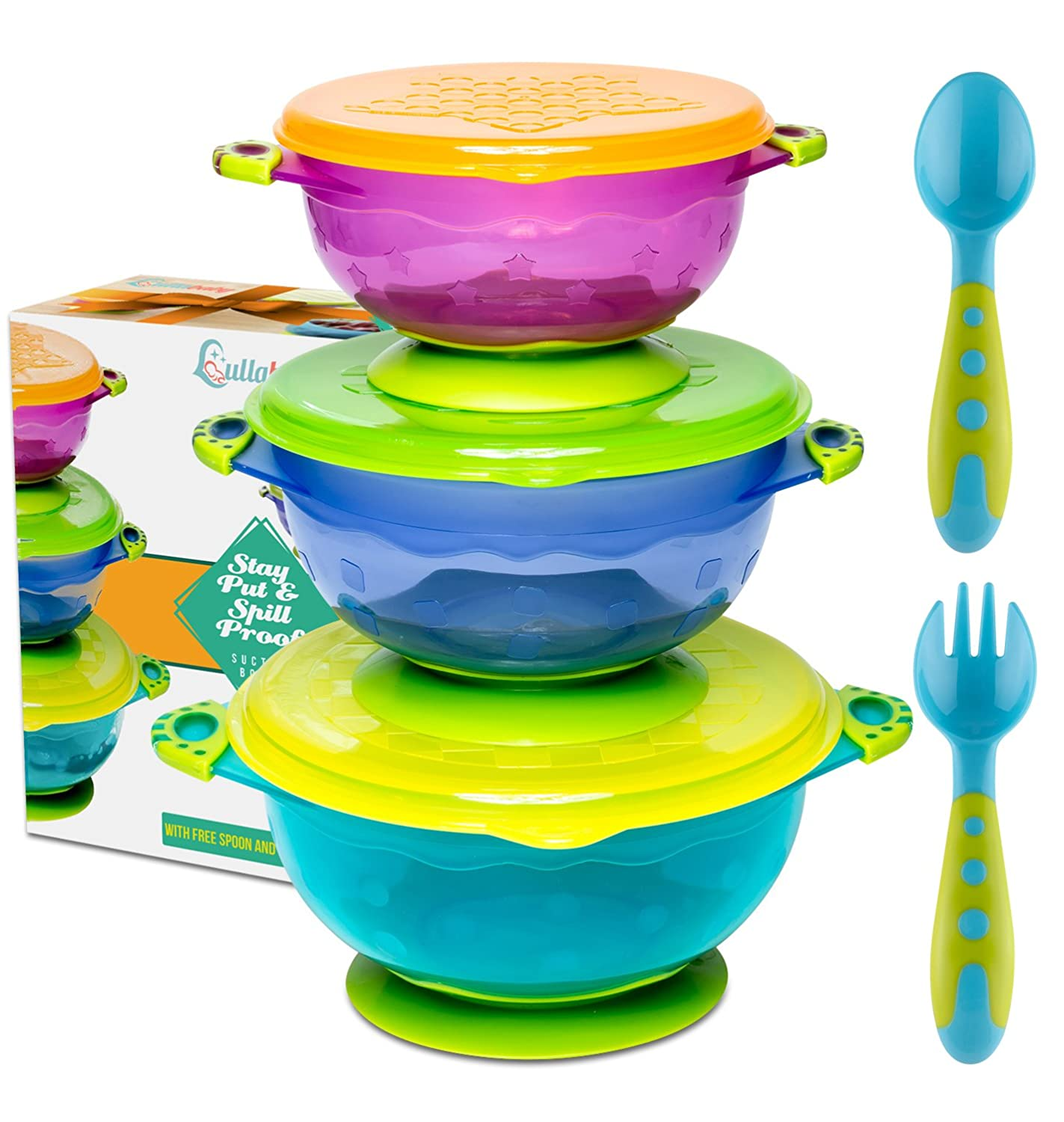 Stay Put Suction Baby Bowls - Suction Toddler Spill Proof Feeding Set | Bonus Spoon and Fork | 3 Sizes of Bowls and Snap Tight Lids | Perfect to Go Storage | FDA Approved BPA Free Lullababy