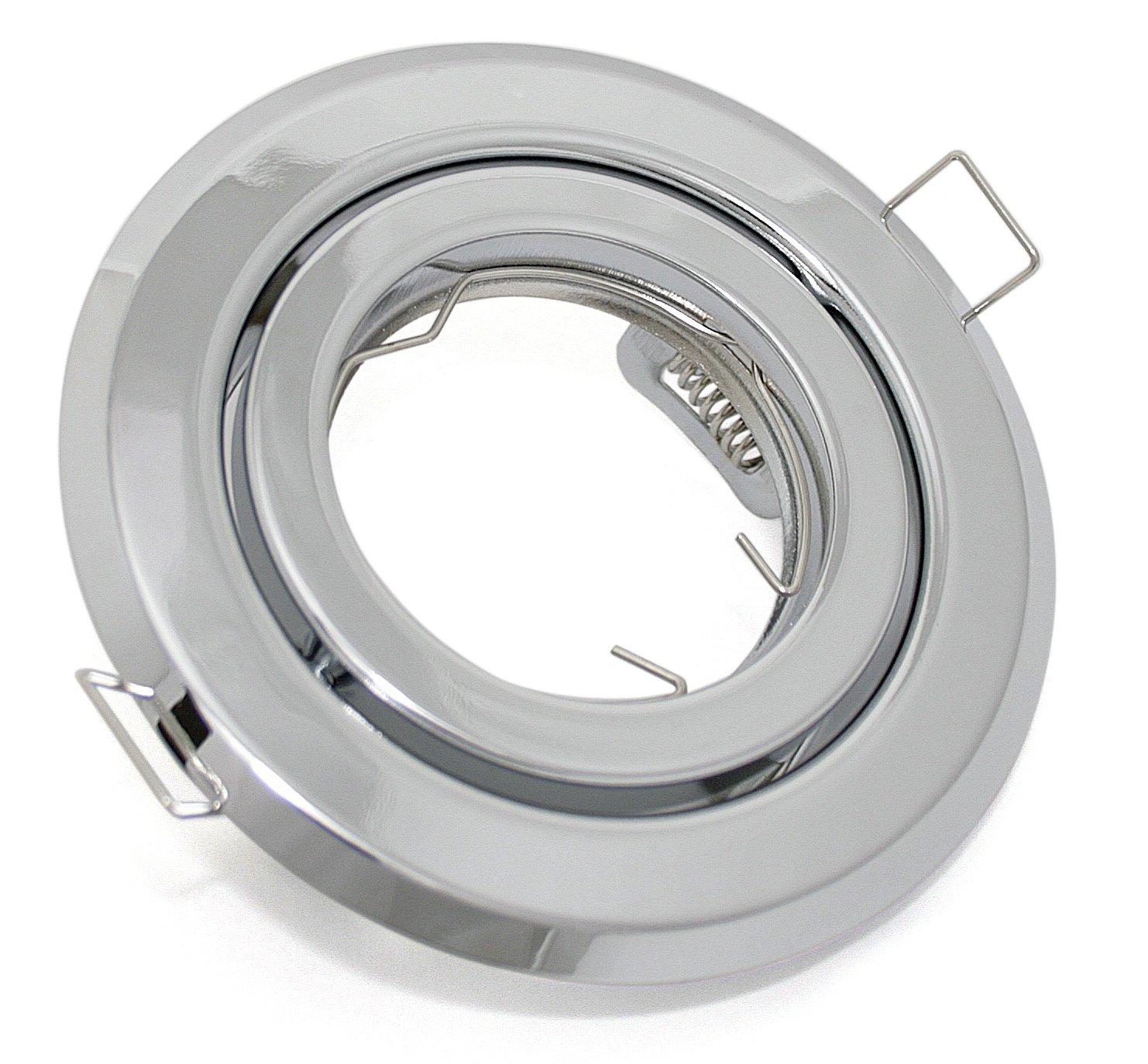 /IP20/ Spot encastrable rond et inclinable/ /Sans ampoule/ /Convient pour ampoules LED et halog/ène avec 51/MM Diam/èt /Chrome Brillant/ //Ø 100/mm/