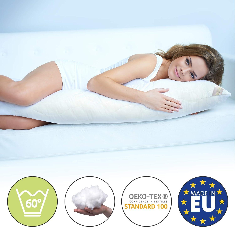 Beautissu Komfort Almohada Lateral 145 cm BeauNuit SK - Cojín Lateral Premium Cool Cojín de Lactancia y Maternidad Almohadón para Embarazadas hipoalergénico ergonómico Made in EU
