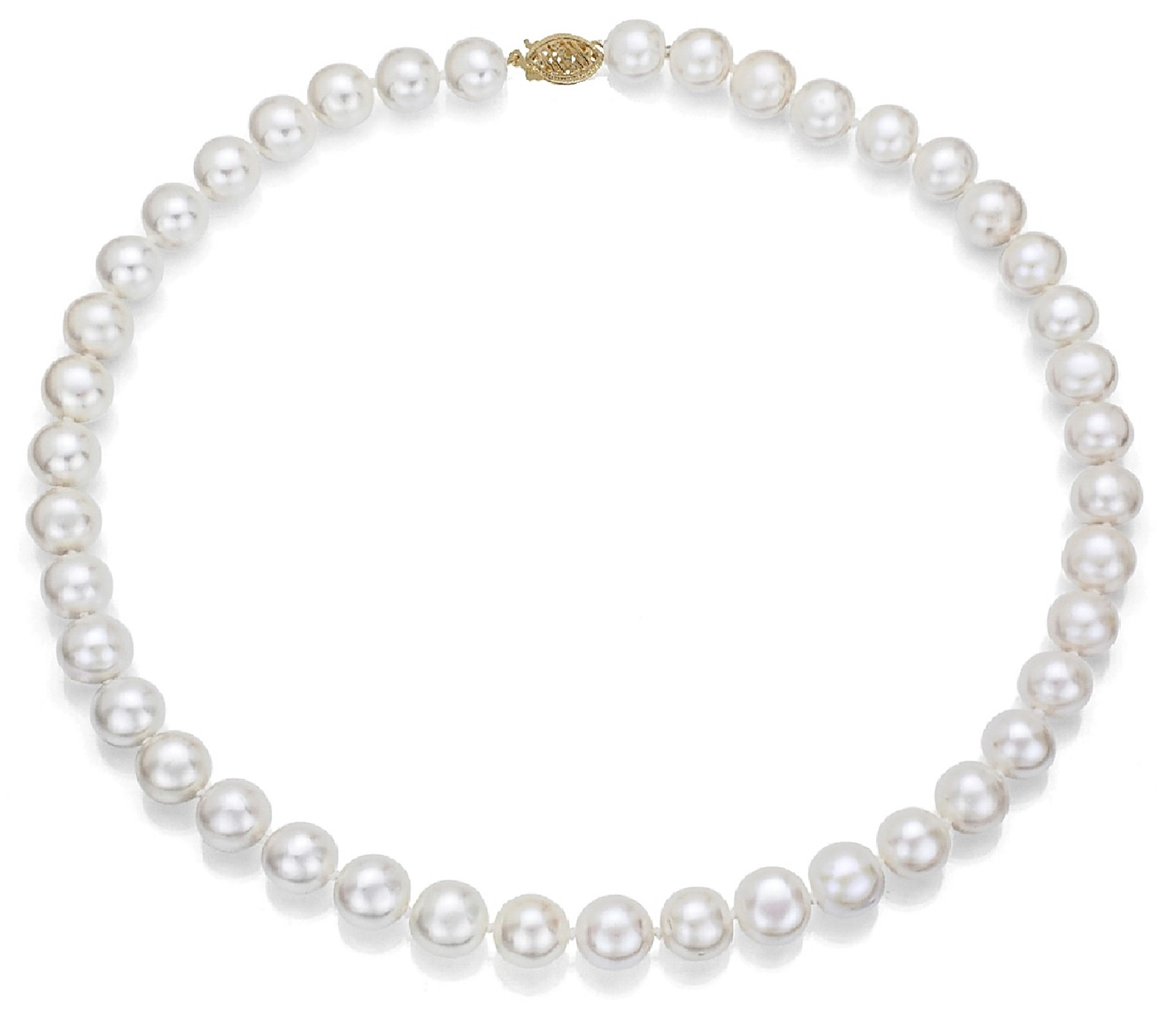 14k Gold, AAA Quality High Luster White Freshwater Cultured Pearl Bridal Necklace (8-9mm)