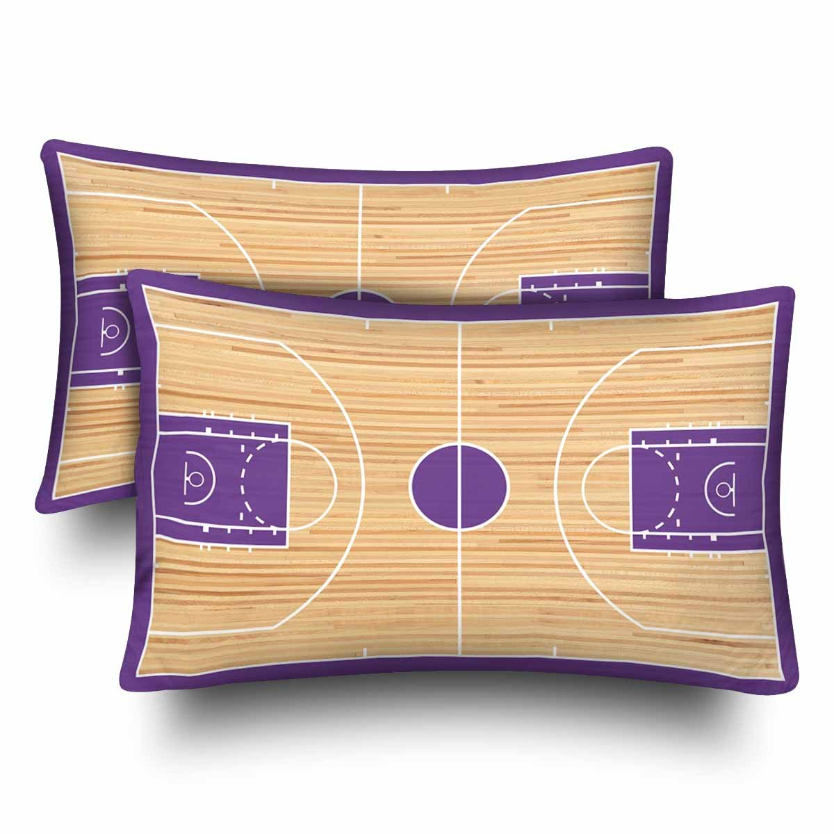 InterestPrint Sports Basketball Court Children Kids Playtime Purple Wood Pillow Cases Pillowcase Standard Size 20x30 Set of 2, Rectangle Pillow Covers Protector for Home Couch Sofa Bedding Decorative