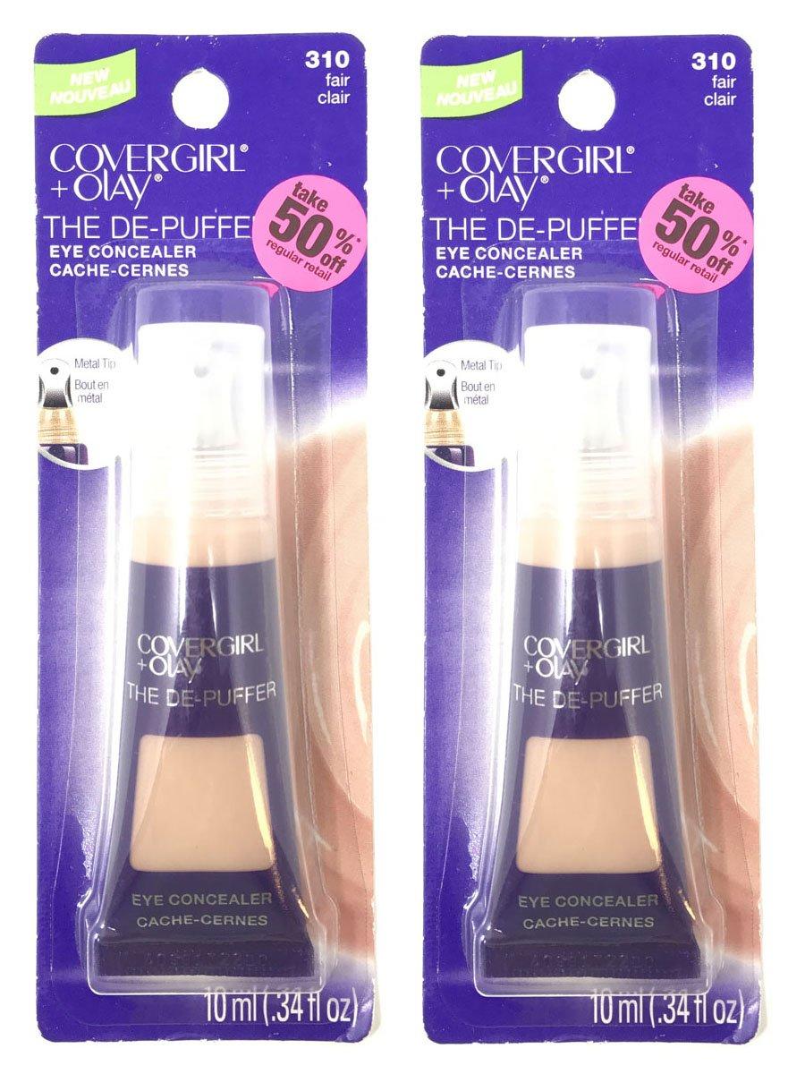 Set of 2 CoverGirl + Olay 0.34 oz The De-Puffer 310 Fair Eye Concealer Tube
