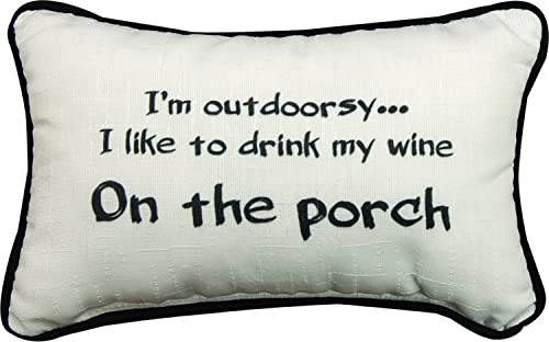 Manual Woodworkers Outdoorsy Drink Wine on Porch 12.5 x 8.5 Inch Woven Decorative Throw Pillow