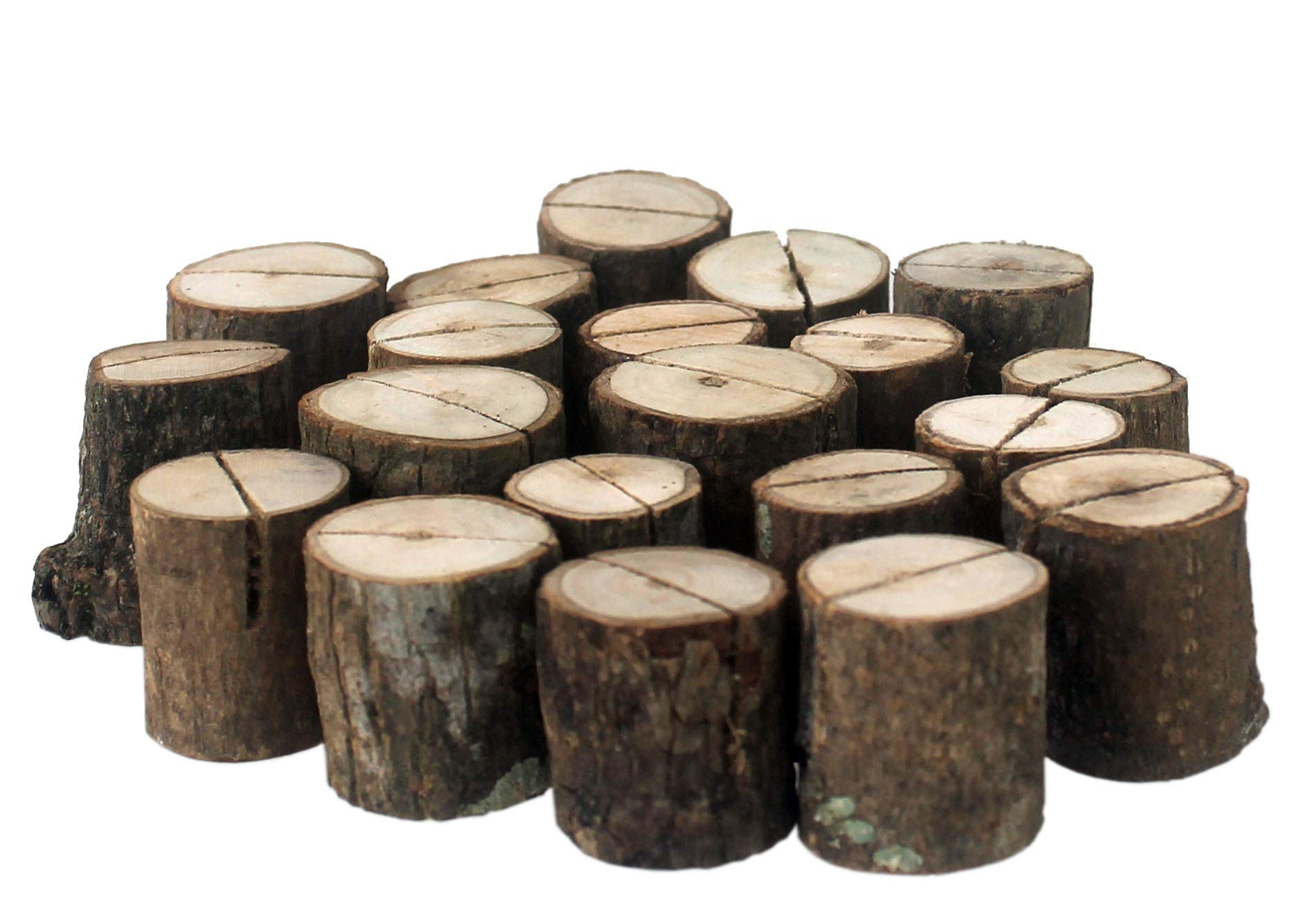 Nesha Rustic Bark Wood Table Numbers or Place Card Holder Logs (20 pcs)