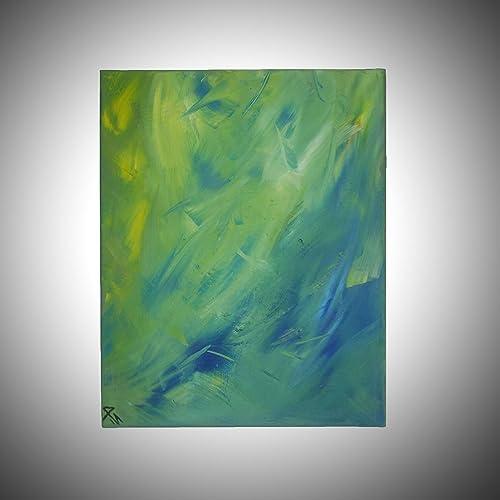 Peinture Contemporaine Green Day Peinture Abstraite Verte à L
