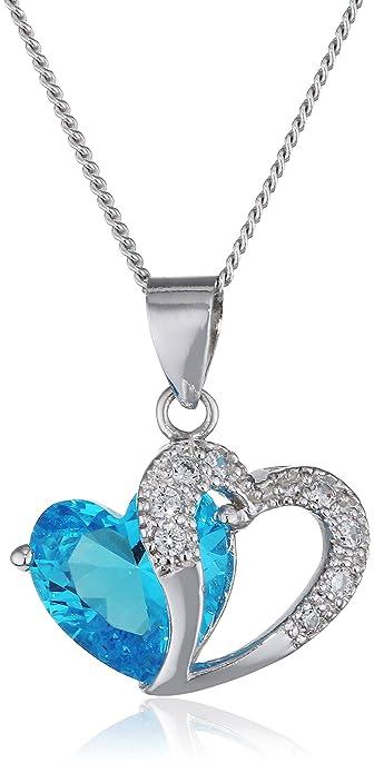 35f490b6fa69 ANEWISH Damen Blau Herz Kristall mit Silber Herz Anhänger Halskette ,  Sterling Silber Ketten . Länge 45cm  Amazon.de  Schmuck