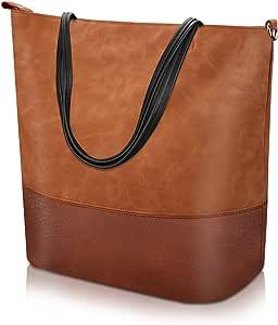 Proking Mujer Bolso de Mano Grande Bolso de Hombro Bolso Tote Bag Bolsos Shopper Bolso de cuero de la PU Gran capacidad Bolsos de Mujer