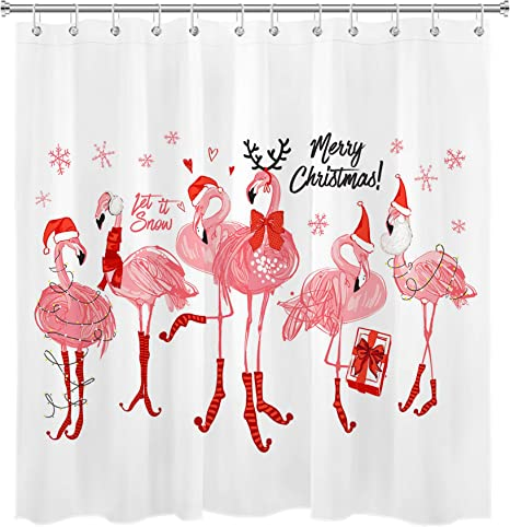 Watercolor Palm Tree Christmas Flamingo Waterproof Fabric Shower Curtain /& Hooks