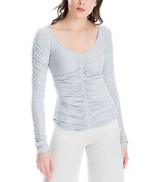 3fb983df6c423 Max Studio London Women s Long Sleeve Ruched Top (Heather Blue ...
