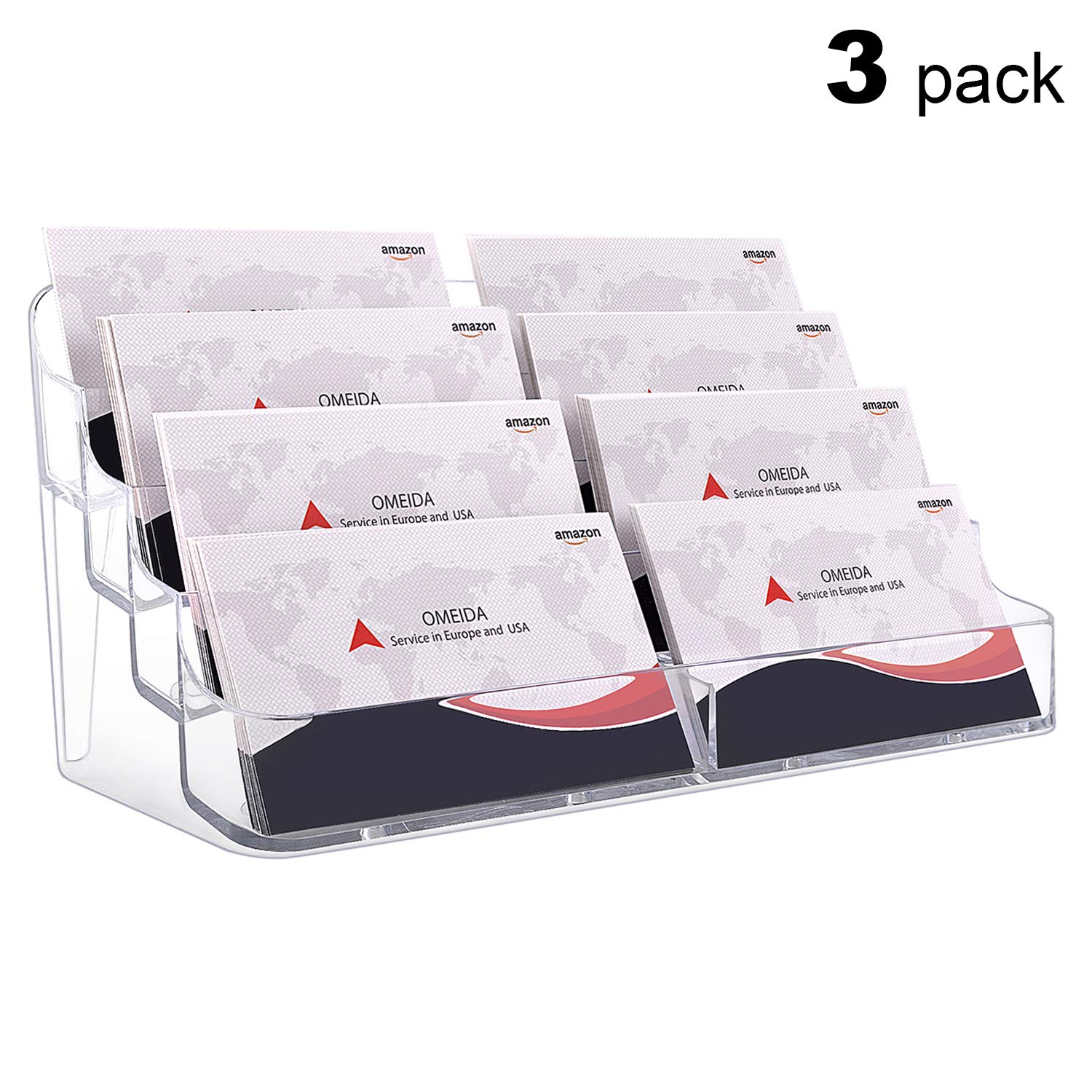 MaxGear Acrylic Business Card Holder, Office Desktop Clear Business Card Holder Display, Business Card Stand for Desk Plastic, 8 Pocket 3pack