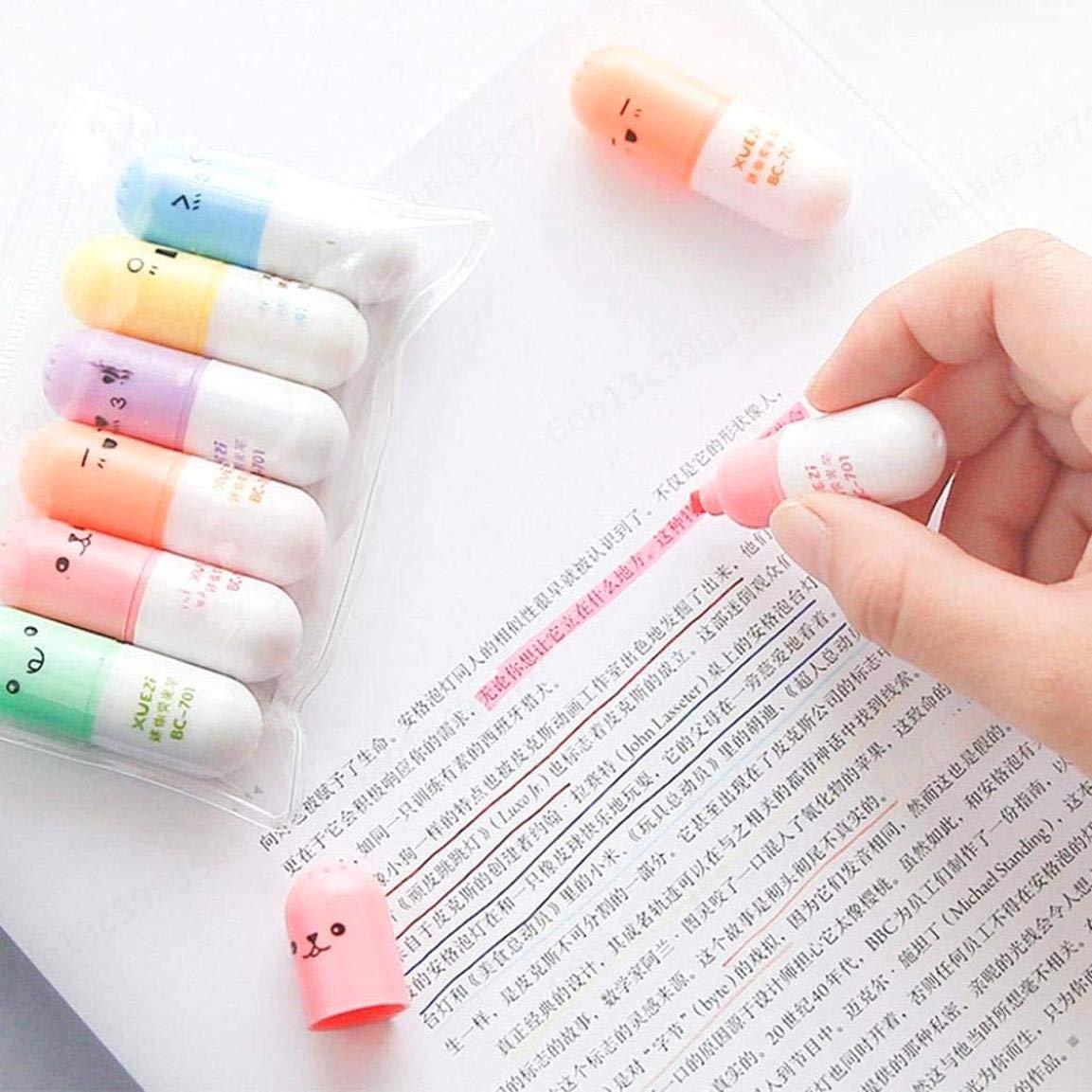 KOKO Zhu 6pcs Pennarello evidenziatore Multicolore Creativo Bella Forma di Pillola Gel Penna Come Regalo per i Bambini