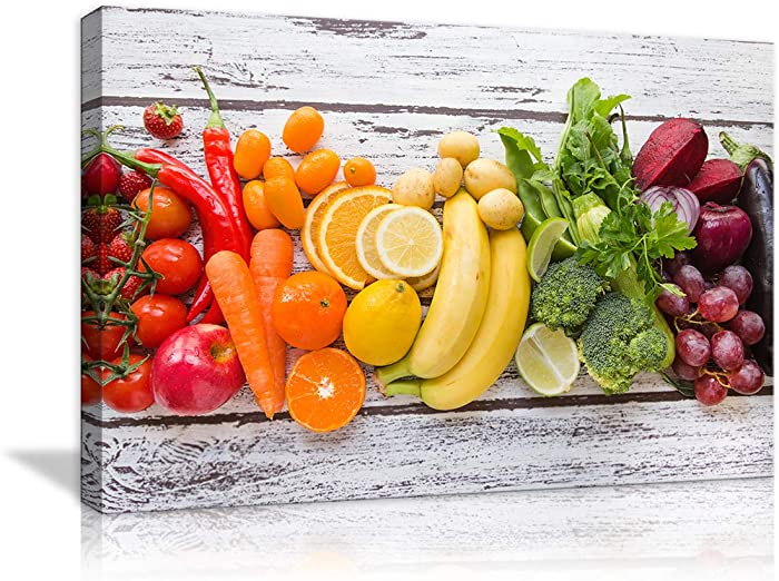 Kitchen Pictures Canvas Prints Wall Art - Multicolored Fresh Fruits and Vegetables on White Wooden Table | Modern Wall Decor/Home Decor Stretched Gallery Canvas Wraps Giclee Print & Ready to Hang