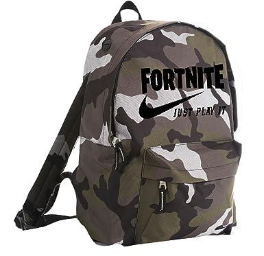 Fortnite Just Play It Rider Backpack Camo Black Logo Amazon Co Uk