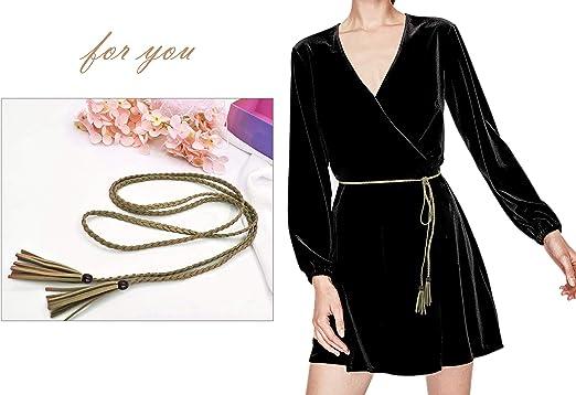 Nanxson Cintura da Donna Vintage Pelle di Nappe Magro Corda Cintura PDW0040