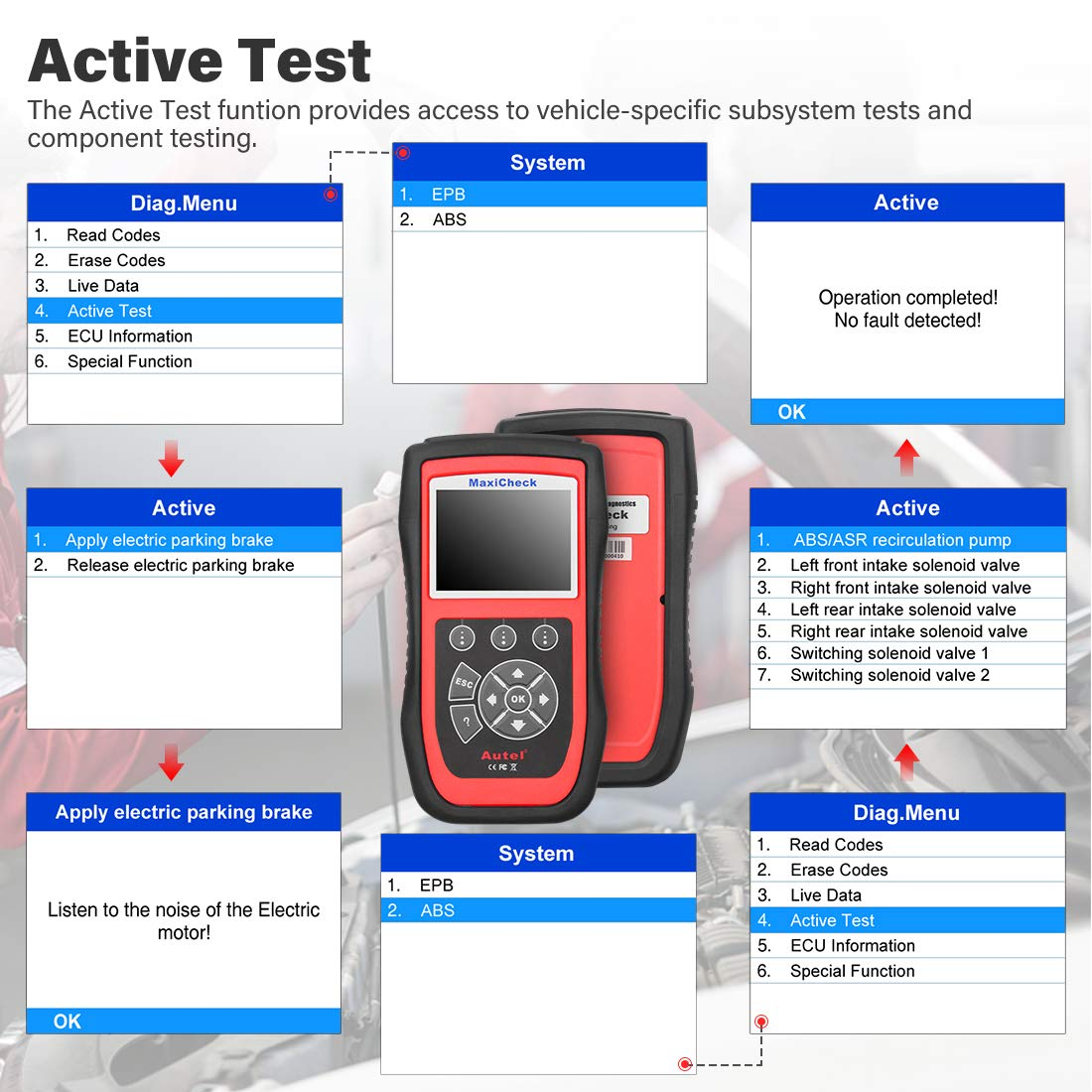 Autel MaxiCheck Pro OBD2 Scanner Automotive Diagnostic Scan Tool with ABS Auto Bleed, SRS Airbag, Oil Reset, SAS, EPB, BMS for Specific Vehicles 1996 to 2012 by Autel (Image #6)