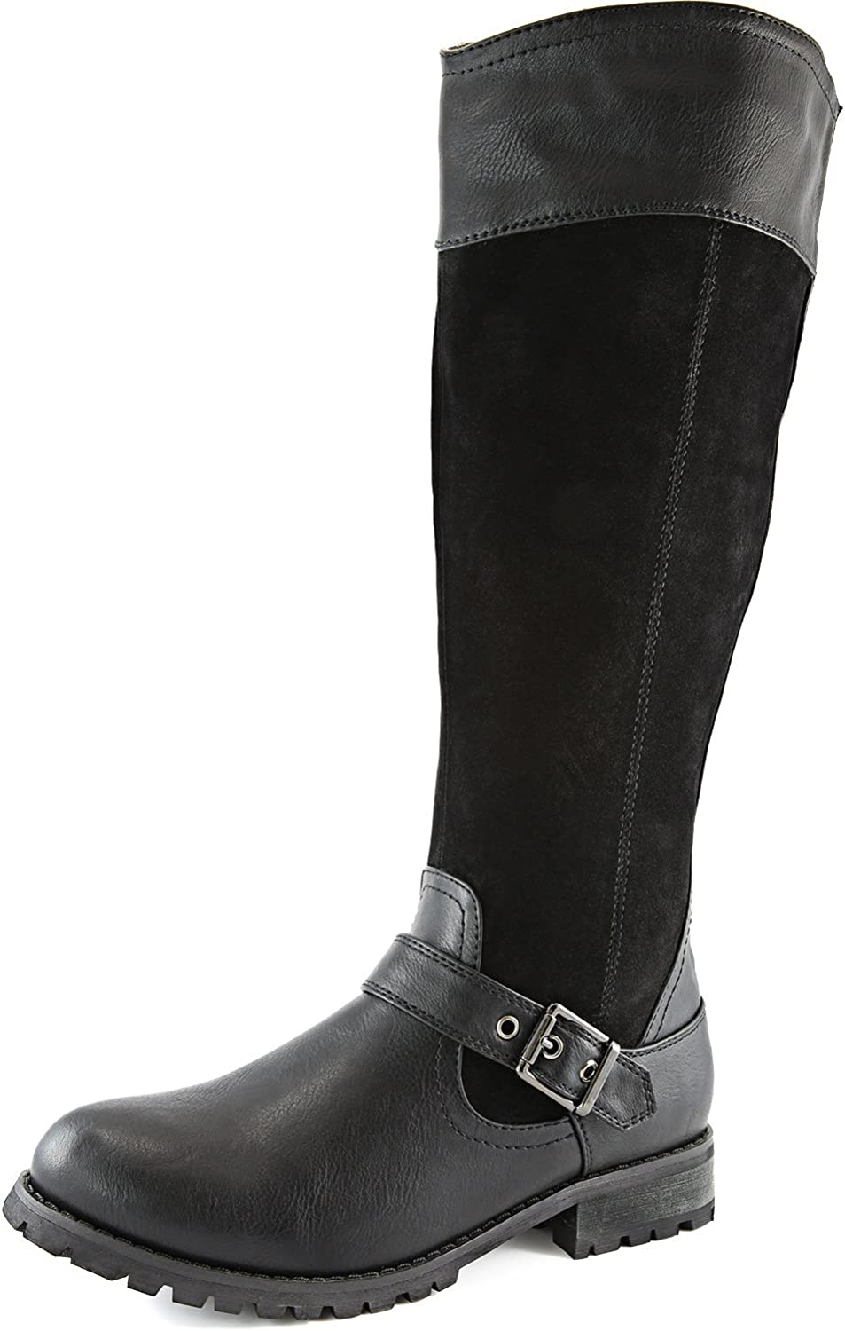 DailyShoes Womens Knee High Ankle Buckle Strap Military Combat Boots
